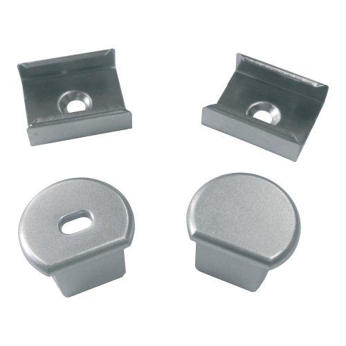 UFE-N07 SILVER A POLYBAG Набор аксессуаров для алюминиевого профиля. Крепежные скобы 4 шт.. сталь и заглушки 4 шт.. пластик. Цвет серебро. ТМ Uniel.
