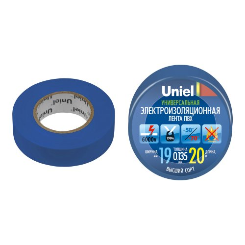 UIT-135P 20-19-01 BLU Изоляционная лента Uniel 20м. 19мм. 0.135мм. 1шт. цвет Синий