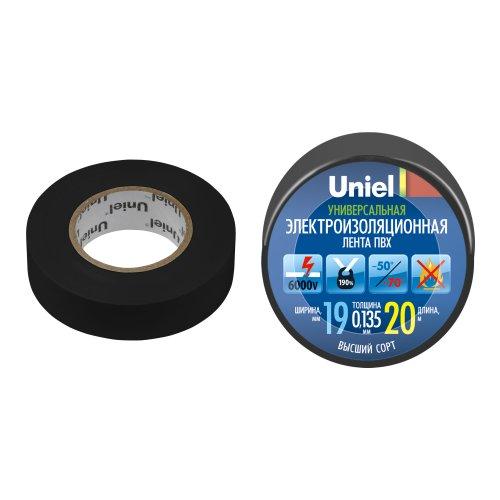 UIT-135P 20-19-01 BLK Изоляционная лента Uniel 20м. 19мм. 0.135мм. 1шт. цвет Черный
