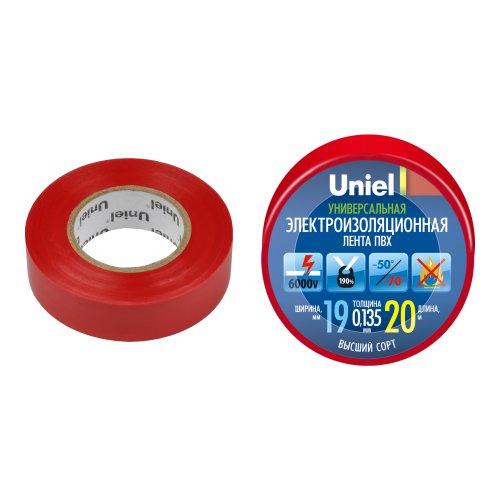 UIT-135P 20-19-01 RED Изоляционная лента Uniel 20м. 19мм. 0.135мм. 1шт. цвет Красный