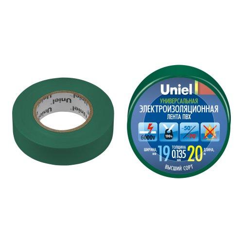 UIT-135P 20-19-01 GRN Изоляционная лента Uniel 20м. 19мм. 0.135мм. 1шт. цвет Зеленый