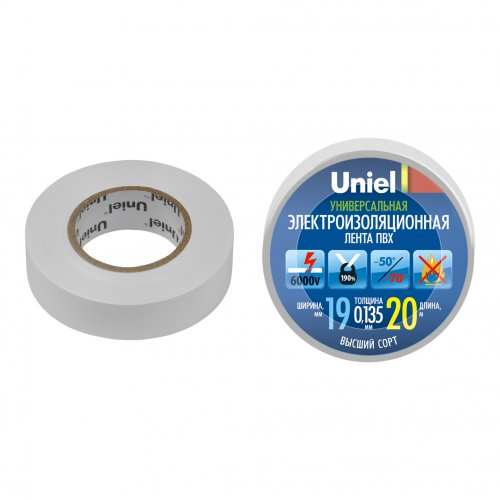 UIT-135P 20-19-01 WHT Изоляционная лента Uniel 20м. 19мм. 0.135мм. 1шт. цвет Белый