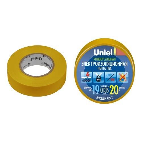 UIT-135P 20-19-01 YEL Изоляционная лента Uniel 20м. 19мм. 0.135мм. 1шт. цвет Желтый