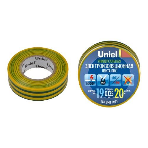 UIT-135P 20-19-01 YGR Изоляционная лента Uniel 20м. 19мм. 0.135мм. 1шт. цвет Желто-Зеленый