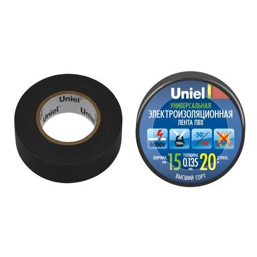 UIT-135P 20-15-01 BLK Изоляционная лента Uniel 20м. 15мм. 0.135мм. 1шт. цвет Черный