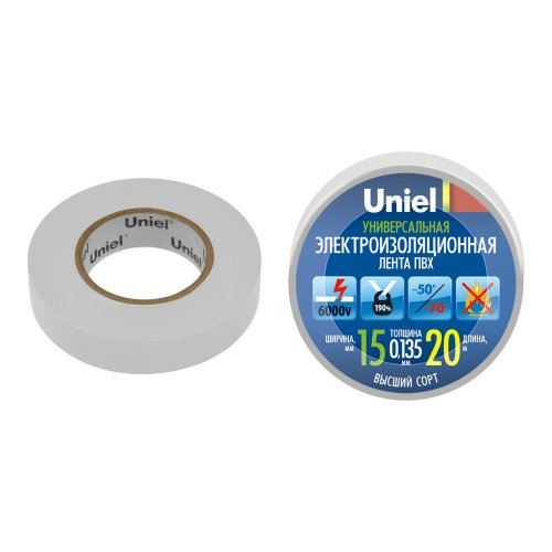 UIT-135P 20-15-01 WHT Изоляционная лента Uniel 20м. 15мм. 0.135мм. 1шт. цвет Белый