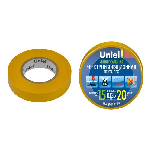 UIT-135P 20-15-01 YEL Изоляционная лента Uniel 20м. 15мм. 0.135мм. 1шт. цвет Желтый