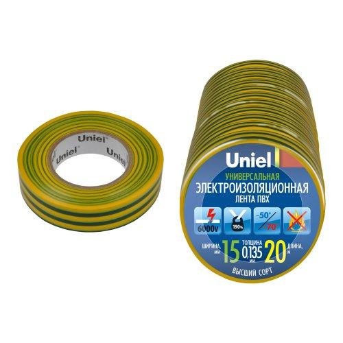 UIT-135P 20-15-01 YGR Изоляционная лента Uniel 20м. 15мм. 0.135мм. 1шт. цвет Желто-Зеленый