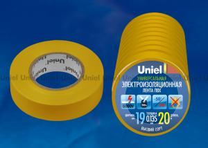 UIT-135P 20-19-10 YEL Изоляционная лента Uniel 20м. 19мм. 0.135мм. 10шт. цвет Желтый