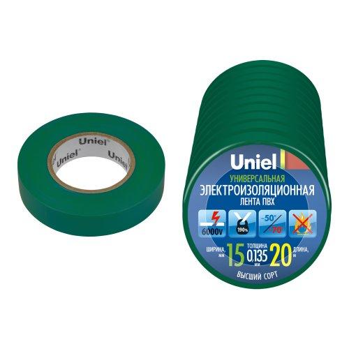 UIT-135P 20-15-10 GRN Изоляционная лента Uniel 20м. 15мм. 0.135мм. 10шт. цвет Зеленый