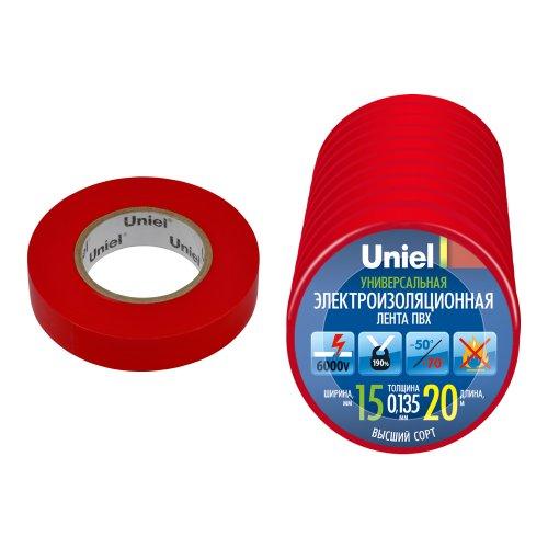 UIT-135P 20-15-10 RED Изоляционная лента Uniel 20м. 15мм. 0.135мм. 10шт. цвет Красный