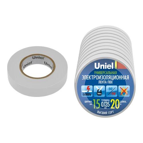 UIT-135P 20-15-10 WHT Изоляционная лента Uniel 20м. 15мм. 0.135мм. 10шт. цвет Белый