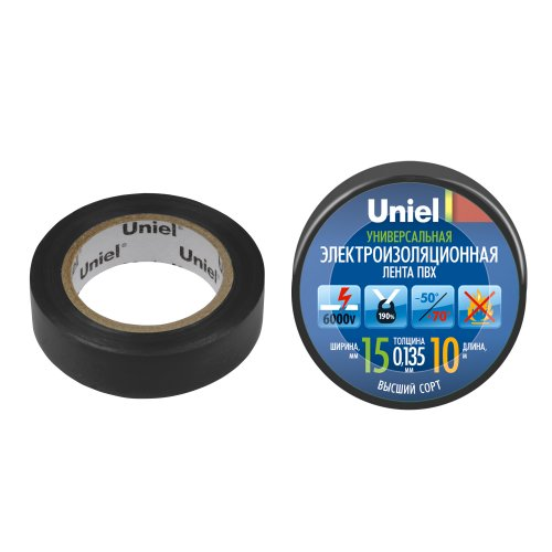 UIT-135P 10-15-01 BLK Изоляционная лента Uniel 10м. 15мм. 0.135мм. 1шт. цвет Черный