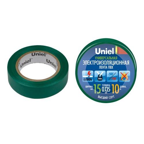 UIT-135P 10-15-01 GRN Изоляционная лента Uniel 10м. 15мм. 0.135мм. 1шт. цвет Зеленый