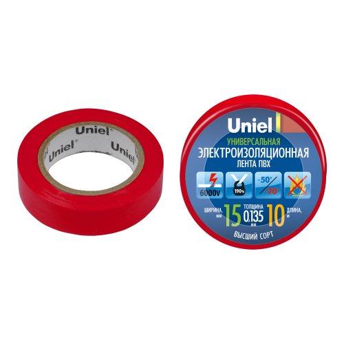 UIT-135P 10-15-01 RED Изоляционная лента Uniel 10м. 15мм. 0.135мм. 1шт. цвет Красный