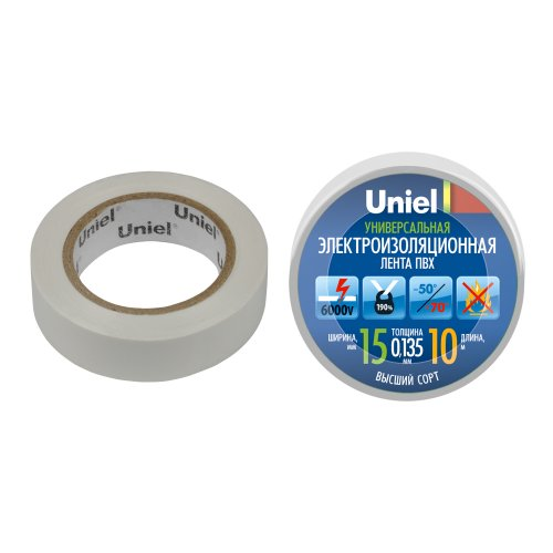 UIT-135P 10-15-01 WHT Изоляционная лента Uniel 10м. 15мм. 0.135мм. 1шт. цвет Белый