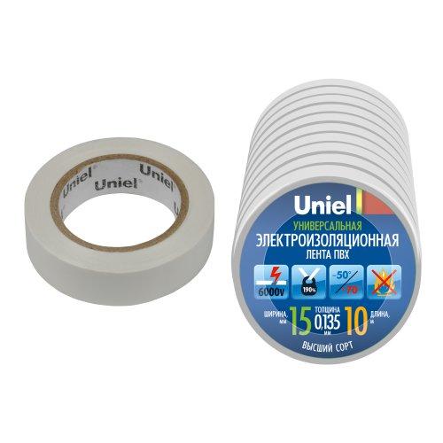 UIT-135P 10-15-10 WHT Изоляционная лента Uniel 10 м. 15 мм. 0.135 мм. 10 шт. цвет Белый
