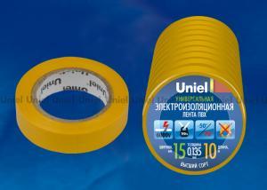 UIT-135P 10-15-10 YEL Изоляционная лента Uniel 10 м. 15 мм. 0.135 мм. 10 шт. цвет Желтый