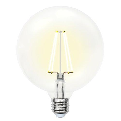 LED-G125-10W-WW-E27-CL PLS02WH Лампа светодиодная. Форма шар. прозрачная колба. Цвет свечения теплый белый. Серия Sky. Упаковка картон. ТМ Uniel