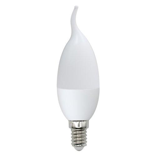 LED-CW37-6W-WW-E14-FR-O Лампа светодиодная Volpe. Форма свеча на ветру. матовая колба. Материал корпуса пластик. Цвет свечения теплый белый. Серия Optima. Упаковка картон