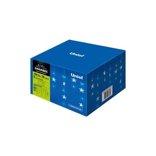 ULD-E5505-196-DTK WHITE-BLUE IP20 STARS-1 Занавес светодиодный фигурный Звёздочки-1. 5.5х 0.5м. 56 подвесов. 196 светодиодов. Белый и синий свет. Провод прозрачный. TM Uniel.