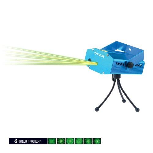 UDL-Q350 6P-G BLUE Лазерный проектор. 6 типов проекции. Микрофон. Регулировка скорости вращения лазера и частоты пульсации. ТМ Volpe.