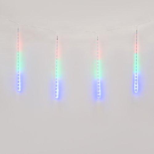 ULD-E2405-240-DTK MULTI IP44 METEOR Занавес светодиодный фигурный Падающие звезды. соединяемый. 2х0.5м. 8 подвесов. Разноцветный свет. Провод прозрачный. TM Uniel.