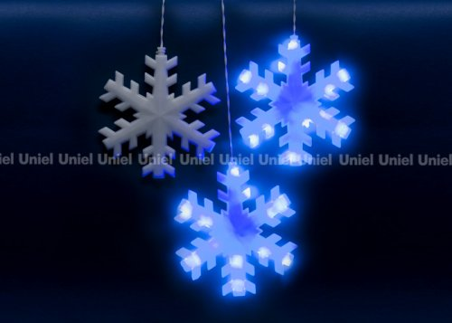 ULD-E2703-120-DTA BLUE IP20 SNOWFLAKES Занавес светодиодный фигурный с контроллером Снежинки. 10 подвесов. 120 светодиодов. Размер 2.7х0.3м. Цвет свечения синий. IP20. Провод прозрачный. Упаковка картон.