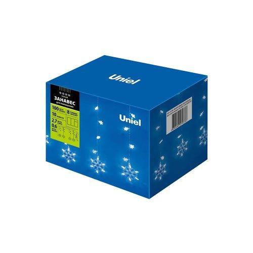 ULD-E2706-100-DTA WHITE IP20 SNOWFALL Занавес светодиодный фигурный с контроллером Снегопад. 10 нитей. 100 светодиодов. Размер 2.7х0.6м. Цвет свечения белый. IP20. Провод прозрачный. Упаковка картон.
