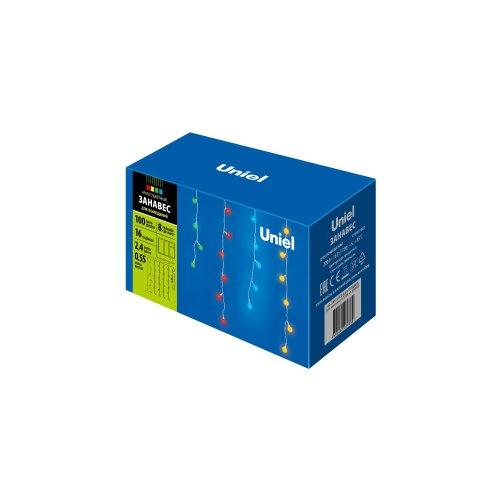 ULD-E2405-100-DTA MULTI IP20 RAINBOW Занавес светодиодный фигурный с контроллером Радуга. 16 нитей. 100 светодиодов. Размер 2.5х0.5м. Цвет свечения разноцветный. IP20. Провод прозрачный. Упаковка картон.