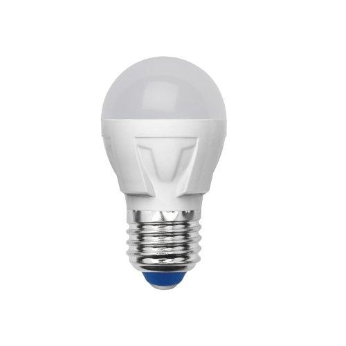 LED-G45-6W-NW-E27-FR-S Лампа светодиодная Volpe. Форма шар. матовая колба. Материал корпуса термопластик. Цвет свечения белый. Серия Simple. Упаковка картон