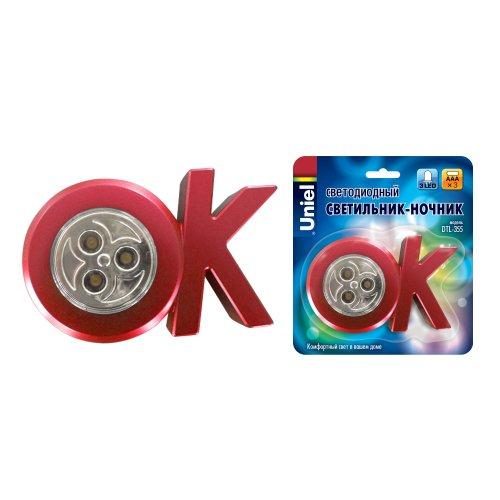 DTL-355 OK-Red-3LED-3AAA Cветильник-ночник ОК.питание от 3-х батареек AAA в комплект не входят. Цвет -красный. Упаковка блистер