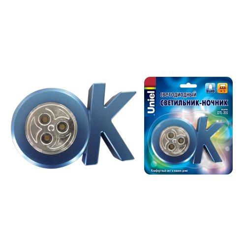 DTL-355 OK-Blue-3LED-3AAA Cветильник-ночник ОК.питание от 3-х батареек AAA в комплект не входят. Цвет -синий. Упаковка блистер