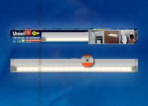 ULE-F02-2W-WW-OS IP20 SILVER картон Светодиодный светильник с датчиком открывания двери. Длина 27.5 см. Материал корпуса алюминий. цвет серебро. Теплый белый свет.
