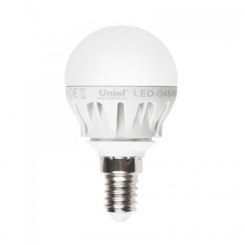 LED-G45-6W-NW-E14-FR ALM01WH Лампа светодиодная. Форма шар. матовая колба. Материал корпуса алюминий. Цвет свечения белый. Серия Merli. Упаковка пластик