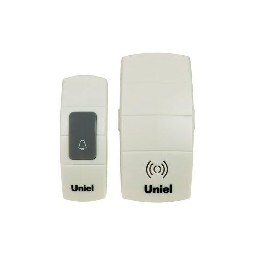 UDB-088W-R1T1-32S-100M-WH Звонок беспроводной. Электропитание для приемного устройства звонка 220В батарейка 23А для кнопки звонка. Блистерная упаковка. Цвет белый