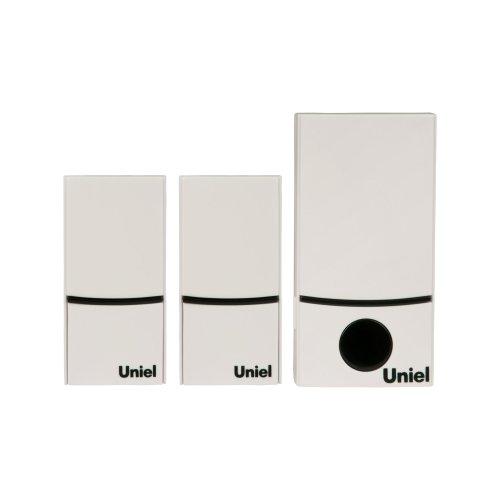 UDB-090W-R1T2-32S-100M-WH Звонок беспроводной. Электропитание для приемного устройства звонка 220В батарейка 23А для кнопки звонка. Блистерная упаковка. Цвет белый