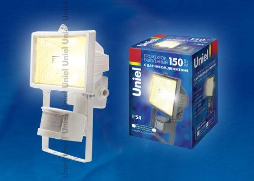 UPH-150W-WH- sensor Прожектор белый с галогенной лампой сенсорный. Картонная упаковка.