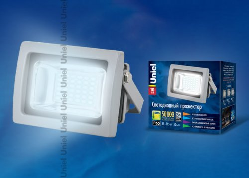 ULF-S04-10W-DW IP65 85-265В GREY Прожектор светодиодный. Мощность 10 Вт. Корпус серый. Цвет свечения дневной. Степень защиты IP65. Упаковка картон
