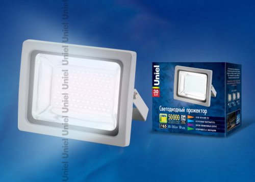 ULF-S04-30W-DW IP65 85-265В GREY Прожектор светодиодный. Мощность 30 Вт. Корпус серый. Цвет свечения дневной. Степень защиты IP65. Упаковка картон