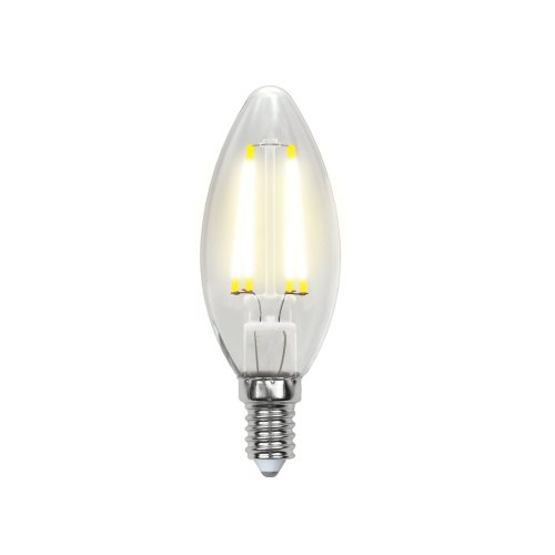 LED-C35-6W-WW-E14-CL PLS02WH Лампа светодиодная. Форма свеча. прозрачная колба. Материал корпуса пластик. Цвет свечения теплый белый. Серия Sky. Упаковка картон. ТМ Uniel