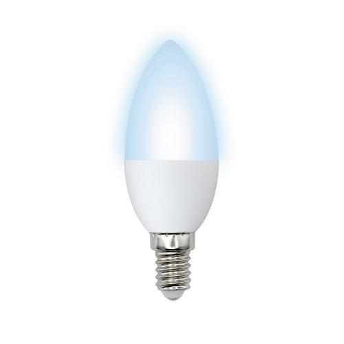 LED-C37-6W-NW-E14-FR-O Лампа светодиодная Volpe. Форма свеча. матовая колба. Материал корпуса пластик. Цвет свечения белый. Серия Optima. Упаковка картон