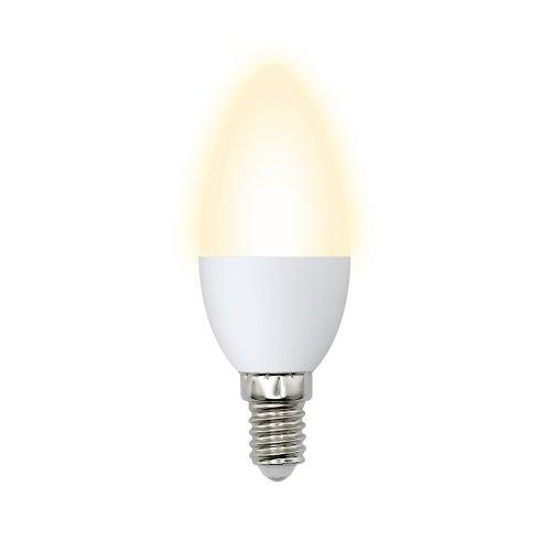 LED-C37-6W-WW-E14-FR-O Лампа светодиодная Volpe. Форма свеча. матовая колба. Материал корпуса пластик. Цвет свечения теплый белый. Серия Optima. Упаковка картон
