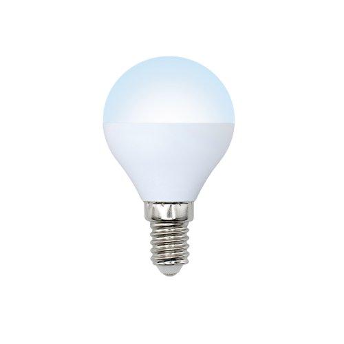 LED-G45-6W-NW-E14-FR-O Лампа светодиодная Volpe. Форма шар. матовая колба. Материал корпуса пластик. Цвет свечения белый. Серия Optima. Упаковка картон