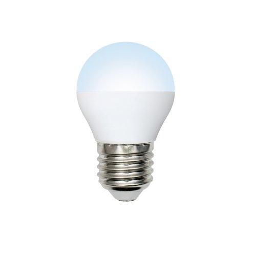 LED-G45-6W-NW-E27-FR-O Лампа светодиодная Volpe. Форма шар. матовая колба. Материал корпуса пластик. Цвет свечения белый. Серия Optima. Упаковка картон