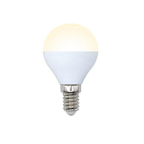 LED-G45-6W-WW-E14-FR-O Лампа светодиодная Volpe. Форма шар. матовая колба. Материал корпуса пластик. Цвет свечения теплый белый. Серия Optima. Упаковка картон