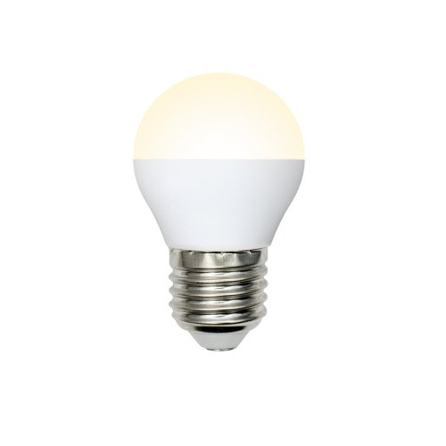 LED-G45-6W-WW-E27-FR-O Лампа светодиодная Volpe. Форма шар. матовая колба. Материал корпуса пластик. Цвет свечения теплый белый. Серия Optima. Упаковка картон