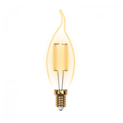 LED-CW35-5W-GOLDEN-E14 GLV21GO Лампа светодиодная Vintage. Форма свеча на ветру. золотистая колба. Картон. ТМ Uniel