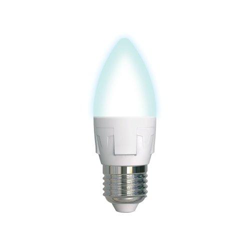 LED-C37 7W-NW-E27-FR PLP01WH Лампа светодиодная. Форма свеча. матовая. Серия ЯРКАЯ. Белый свет 4000K. Картон. ТМ Uniel