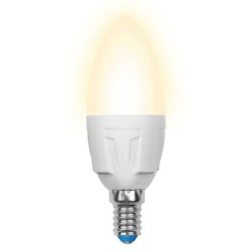 LED-C37 7W-WW-E14-FR PLP01WH Лампа светодиодная. Форма свеча. матовая. Серия ЯРКАЯ. Теплый белый свет 3000K. Картон. ТМ Uniel